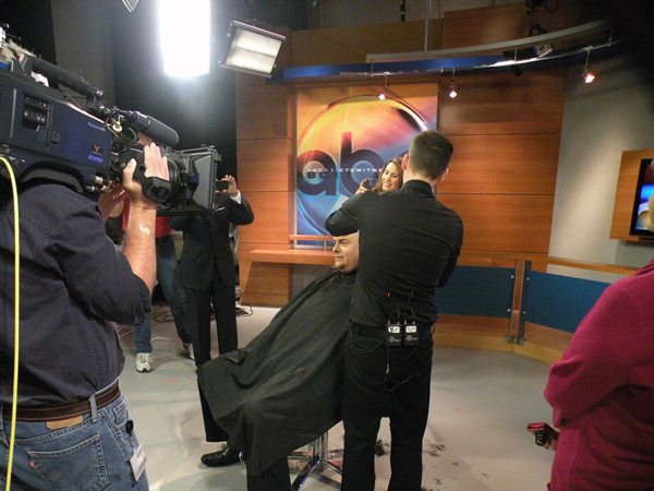 Don Schwenneker gives up his luscious locks to support bone marrow donation for cancer patients <span class=meta>(WTVD Photo&#47; Ian Slack)</span>