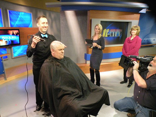 "<div class=""meta ""><span class=""caption-text "">Don Schwenneker gives up his luscious locks to support bone marrow donation for cancer patients (WTVD Photo/ Ian Slack)</span></div>"