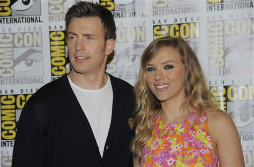 Chris Evans, left, and Scarlett Johansson attends the &#34;Captain America:The Winter Soldier&#34; press line on Day 4 of Comic-Con International on Saturday, July 20, 2013 in San Diego.  <span class=meta>(AP Photo&#47;Chris Pizzello)</span>