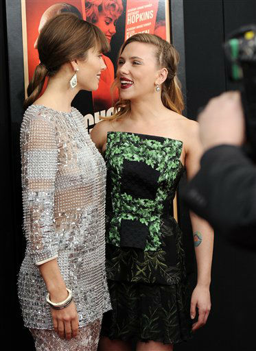 Actresses Jessica Biel, left, and Scarlett Johansson attend the premiere for &#34;Hitchcock&#34; at the Ziegfeld Theatre on Sunday Nov. 18, 2012 in New York.  <span class=meta>(AP Photo&#47;Evan Agostini)</span>