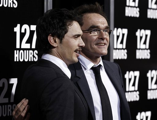 Cast member James Franco, left, and director Danny Boyle pose together at the premiere of &#34;127 Hours&#34; in Beverly Hills, Calif. on Wednesday, Nov. 3, 2010. The movie has been nominated for a best picture Academy Award.  <span class=meta>(AP Photo&#47; Matt Sayles)</span>