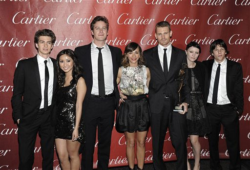 From left to right, actor Andrew Garflield, Actress Brenda Song, actor Armie Hammer, actress Rashida Jones, actor Josh Pence, actress Rooney Mara, actor Jesse Eisenberg pose together with their Ensemble Performance award for the feature film &#34;The Social Network&#34; at the 2011 Palm Springs International Film Festival Awards Gala in Palm Springs, Calif. on Saturday, Jan. 8, 2011.  The movie has been nominated for a best picture Academy Award.  <span class=meta>(AP Photo&#47; Dan Steinberg)</span>