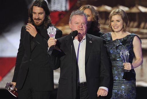 The cast of &#34;The Fighter&#34; accepts the award for best acting ensemble at the 16th Annual Critics&#39; Choice Movie Awards on Friday, Jan. 14, 2011, in Los Angeles. From left, Christian Bale, Jack McGee, Melissa Leo and Amy Adams. The movie has been nominated for a best picture Academy Award.  <span class=meta>(AP Photo&#47; Chris Pizzello)</span>