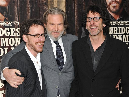 "<div class=""meta ""><span class=""caption-text "">Actor Jeff Bridges, center, poses with co-directors Ethan Coen, left, and Joel Coen at the premiere of 'True Grit' at the Ziegfeld Theatre on Tuesday, Dec. 14, 2010 in New York. The movie has been nominated for a best picture Academy Award. (AP Photo/ Evan Agostini)</span></div>"