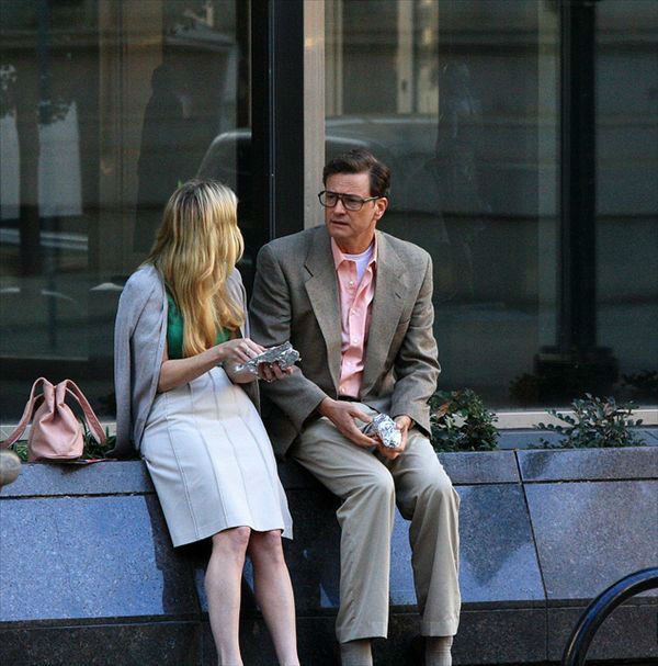Anne Heche and Colin Firth on the set of Arthur Newman, Golf Pro in downtown Raleigh. <span class=meta>(Photographer Maureen Lingle)</span>