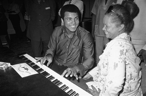 In this Sept. 22,  1974, photo, Muhammad Ali plays a few notes on the piano as singer Etta James looks on.    <span class=meta>(AP Photo&#47; Horst Faas)</span>