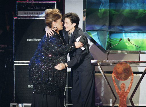 In this  Jan. 13, 1993, photo, singer Etta James, left, gets a hug from fellow singer K d Lang as she is inducted to the Rock and Roll hall fame, in Los Angeles.    <span class=meta>(AP Photo&#47; Kevork Djansezian)</span>