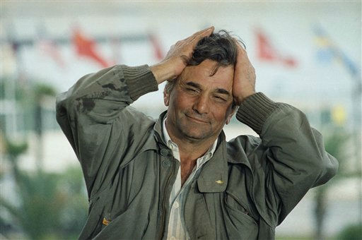 American actor Peter Falk gestures, holding his head in his hands on Sunday, May 17, 1987 in Cannes as he presented the Wim Wenders film in competition for the 40th Cannes Film Festival titled &#34;Der Himmel uber Berlin&#34;.  <span class=meta>(AP Photo&#47; Michel Lipchitz)</span>