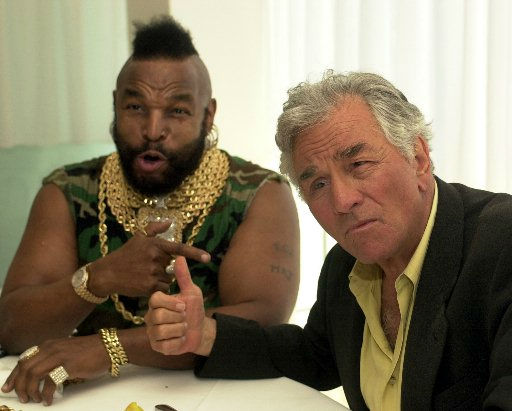 Television personalities Mr. T of A-Team, left, and Peter Falk of Columbo, tease each other at a press luncheon to celebrate NBC&#39;s 75th anniversary in West Hollywood,  Calif., Thursday, April 11, 2002.  <span class=meta>(AP Photo&#47; KRISTA NILES)</span>