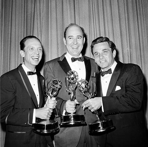 Writer Carl Reiner, center, poses with actors Don Knotts, left, and Peter Falk as they hold their statuettes at the Emmys Awards in Hollywood, Ca., May 22, 1962.  Knotts was named outstanding performance in a supporting role by an actor in &#34;The Andy Griffith Show&#34;; Reiner won outstanding writing achievement in comedy for the &#34;Dick Van Dyke Show&#34;; and Falk was named outstanding single performance by an actor in a leading role in &#34;The Dick Powell Show, The Price of Tomatoes.&#34;  <span class=meta>(AP Photo)</span>