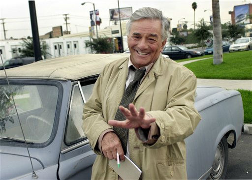 Actor Peter Falk, best-known for his role as the eccentric Lt. Columbo, gestures while on location for &#34;Columbo Likes the Nightlife&#34; in this Oct. 29, 2002 file photo, in Los Angeles.  <span class=meta>(AP Photo&#47; RIC FRANCIS)</span>