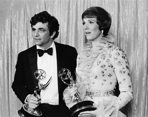 Actor Peter Falk, left,  grasps the Emmy he won on Sunday night, May 15, 1972  at the Television Academy&#39;s 24th annual awards in  Hollywood for the best performance by an leading role in a dramatic series. Actress Julie Andrews holds the Emmy she accepted for Glenda Jackson for Miss Jackson&#39;s performance as an actress in a dramtic series.  <span class=meta>(AP Photo&#47; DS)</span>