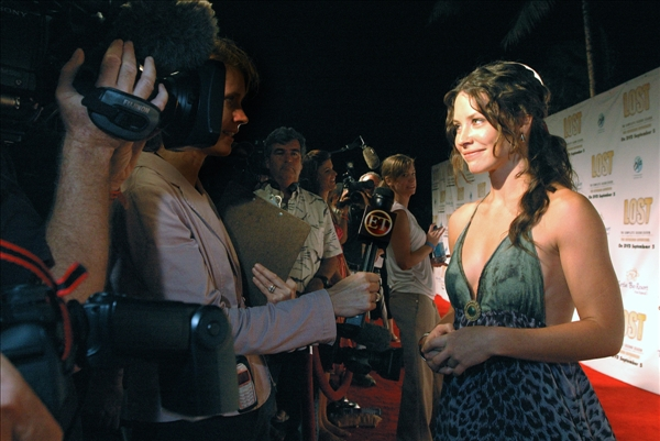 "<div class=""meta ""><span class=""caption-text "">Actress Evangeline Lilly of ABC's TV show ""Lost""  speaks to the media before the season two DVD release party at the Turtle Bay Resort in Kahuku, Hawaii, Tuesday, Aug. 15, 2006.   (AP/Lucy Pemon)</span></div>"