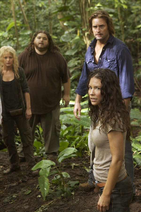 "<div class=""meta ""><span class=""caption-text "">In this TV publicity image released by ABC, from left, Emilie de Ravin, Jorge Garcia, Josh Holloway and Evangeline Lilly are shown in a scene from ""Lost.""  (AP/ABC, Mario Perez)</span></div>"