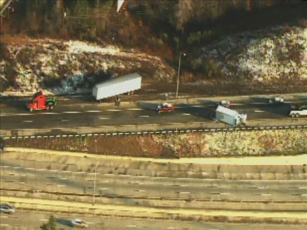 A truck flipped on its side after a crash Monday morning. <span class=meta>(WTVD Photo)</span>