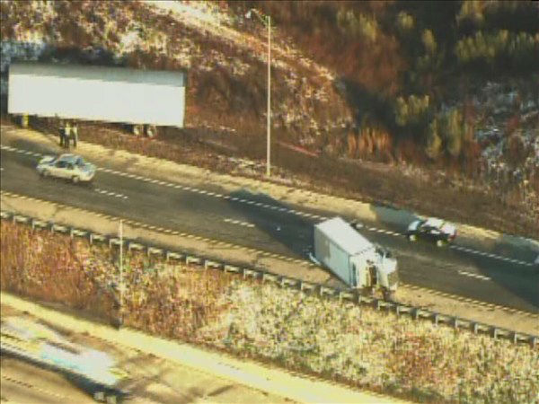 "<div class=""meta ""><span class=""caption-text "">A truck flipped on its side after a crash Monday morning. (WTVD Photo)</span></div>"
