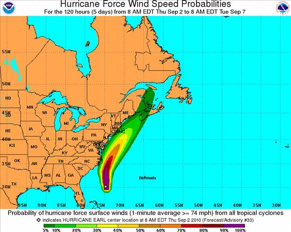 Hurricane Force Wind Speed Probabilities - 120 Hours <span class=meta>(National Hurricane Center)</span>