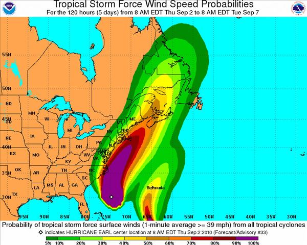 Tropical Storm Force Wind Speed Probabilities - 120 Hours  <span class=meta>(National Hurricane Center)</span>