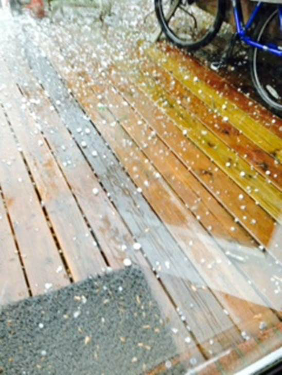 Hail around central North Carolina Friday. <span class=meta>(WTVD Photo&#47; ABC11 viewer submitted image)</span>