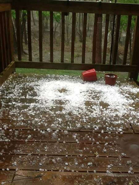 Hail around central North Carolina. <span class=meta>(WTVD Photo&#47; ABC11 viewer submitted image)</span>