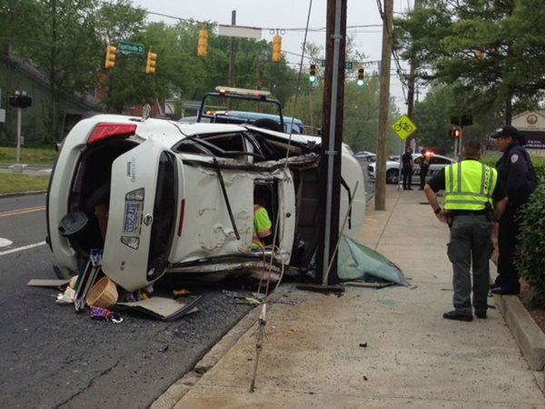 Two drivers were hospitalized Tuesday following a grinding crash on Lawson Street at the Fayetteville Street intersection. The cause of the accident was under investigation. <span class=meta>(WTVD Photo&#47; Tommy Harris)</span>
