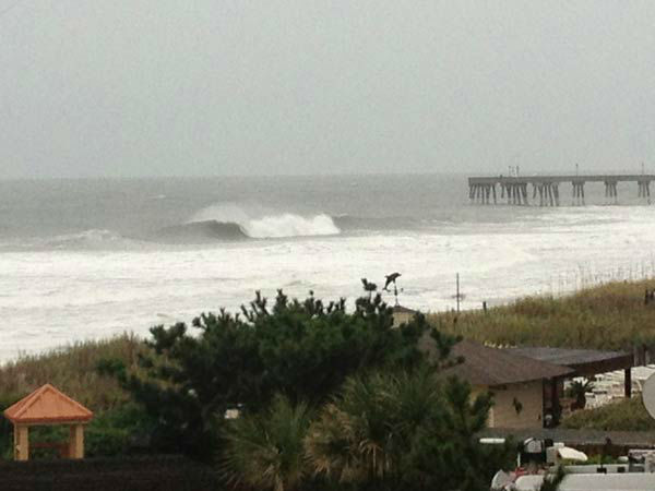 Large swells from Sandy Saturday morning at Wrightsville Beach. Est. 8-12ft breakers in sets.