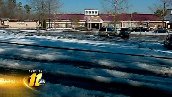 School lots remained unplowed