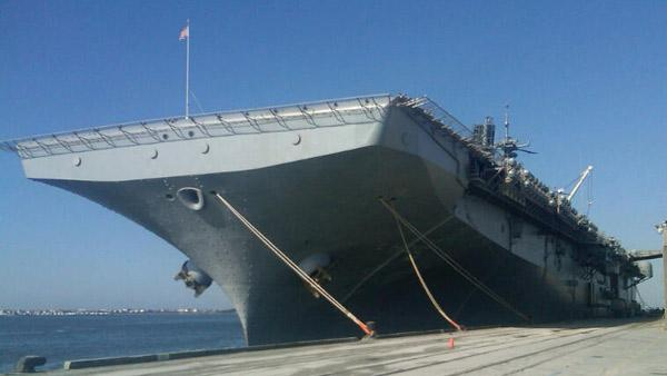 Marines, supplies load onto USS Bataan