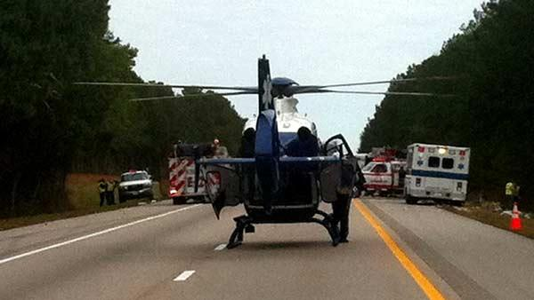 Chopper lands on I-95 in Wilson County