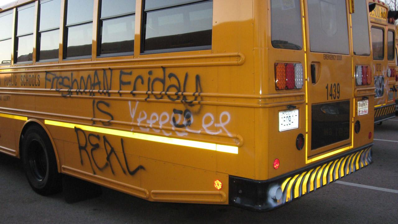 Almost 20 Wake County school buses were vandalized over the weekend, causing delays for students Monday morning.Photo courtesy of Town of Cary