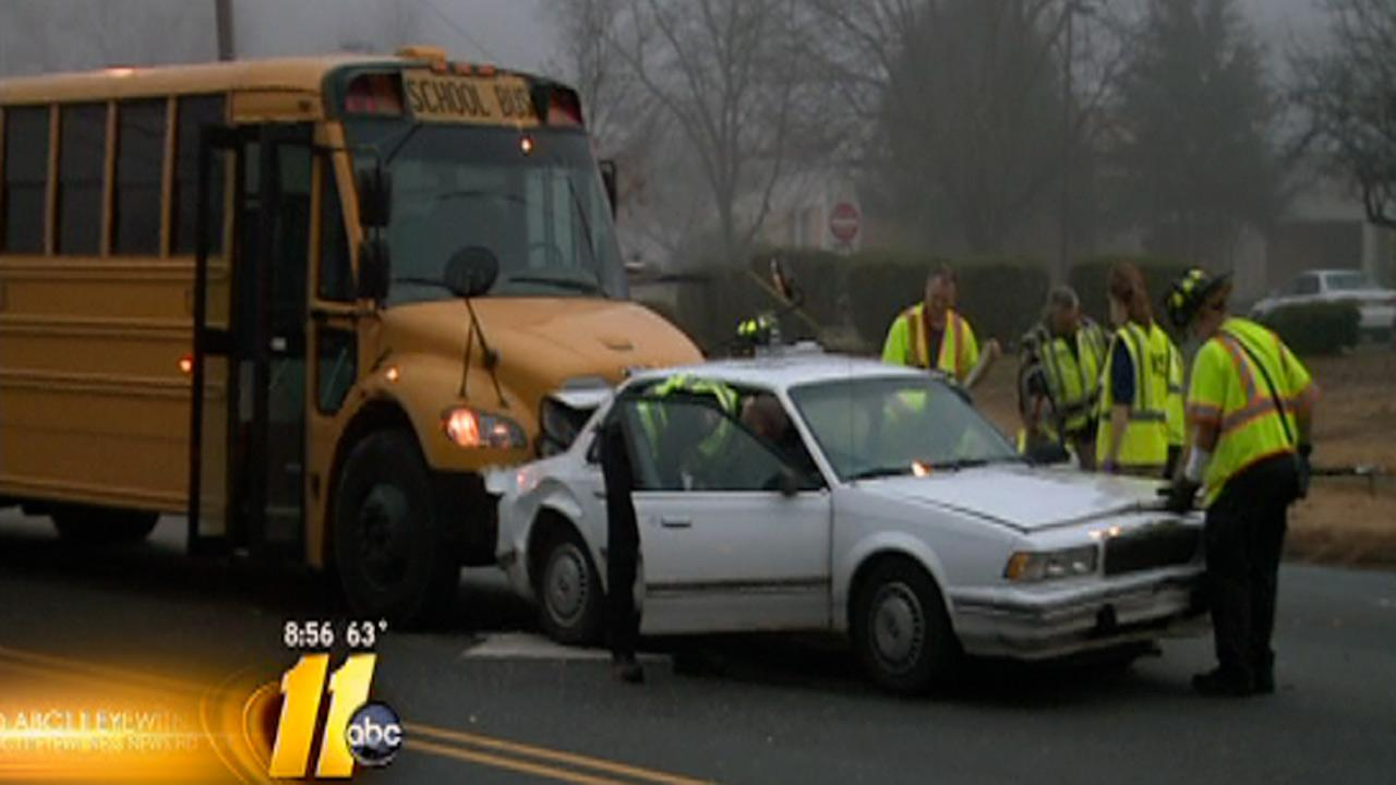 Some students at a Durham middle school got quite a scare Monday morning when their school bus crashed.