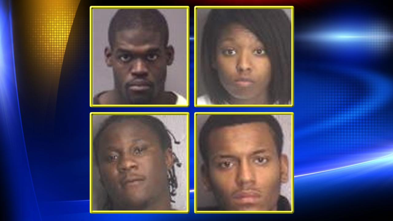 Clockwise from top left: Christopher Cromartie Jr., Jasmine Dottin, Daniel Edward Henry, and Quintel GradyImages courtesy New Hanover Sheriff's Office