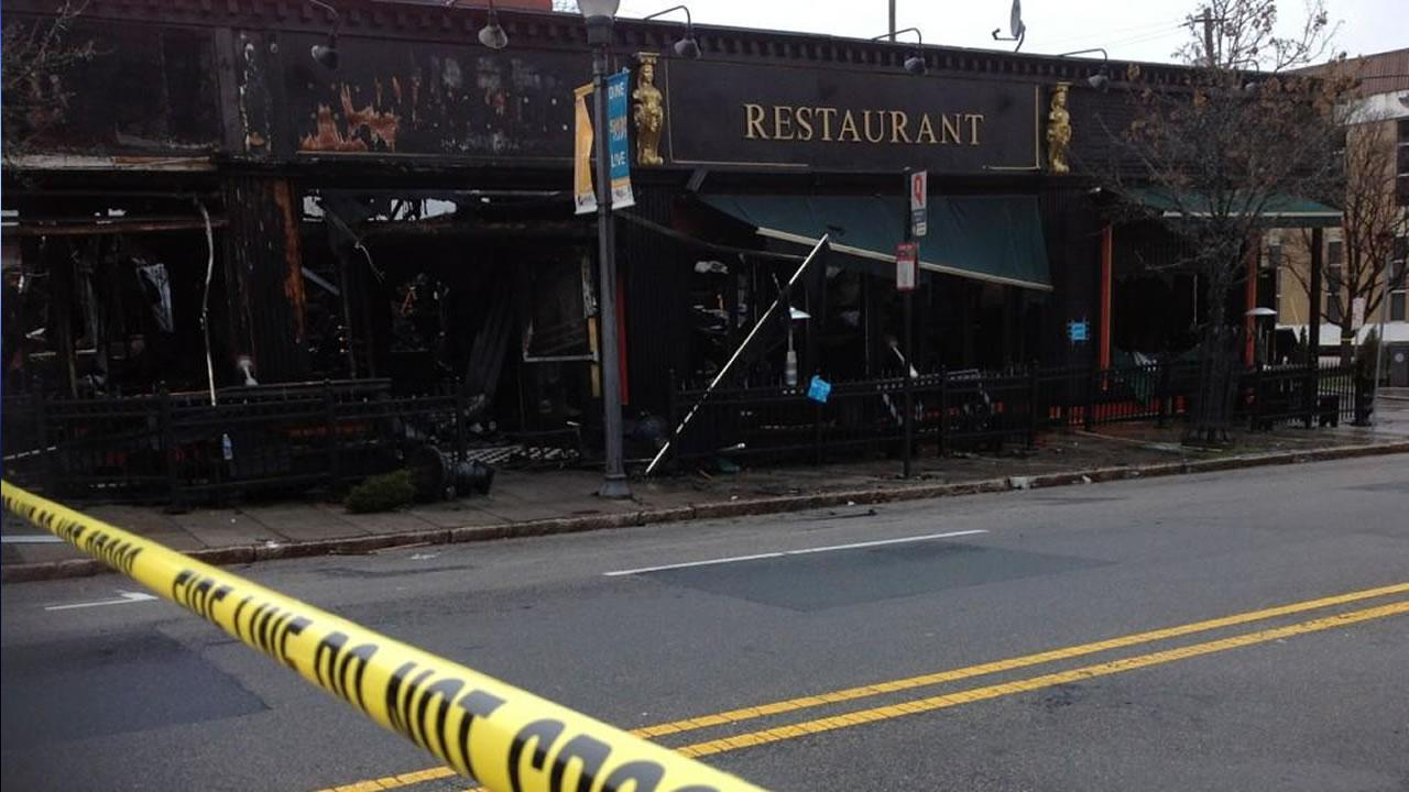 Whats left of the Hibernian Pub in Raleigh after a fire Wednesday morning