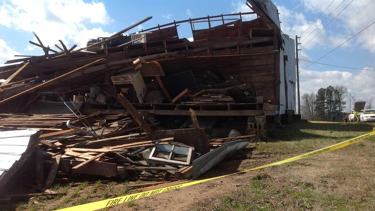 The National Weather Service says a tornado is what destroyed a building in Johnston County Tuesday night <span class=meta>(ABC11 Reporter Kelli O&#39;Hara)</span>