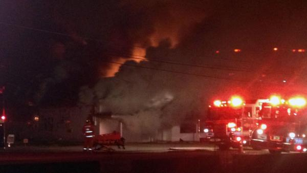 Firefighters battle fire at an abandoned building in the 4600 block of Old Poole Road in Raleigh just before 4:30 a.m.