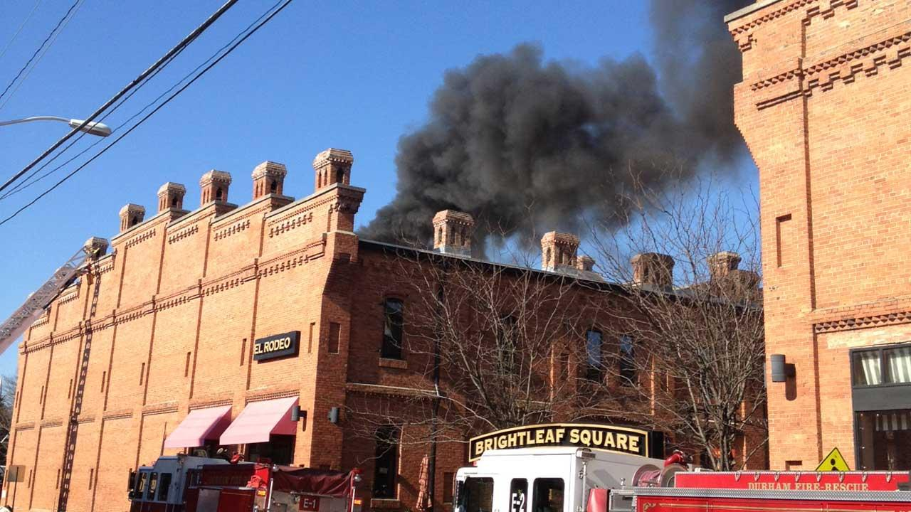 Firefighters are battling a blaze at the El Rodeo restaurant in the 900 block of West Main Street in Durham. <span class=meta>(Rob Elmore)</span>