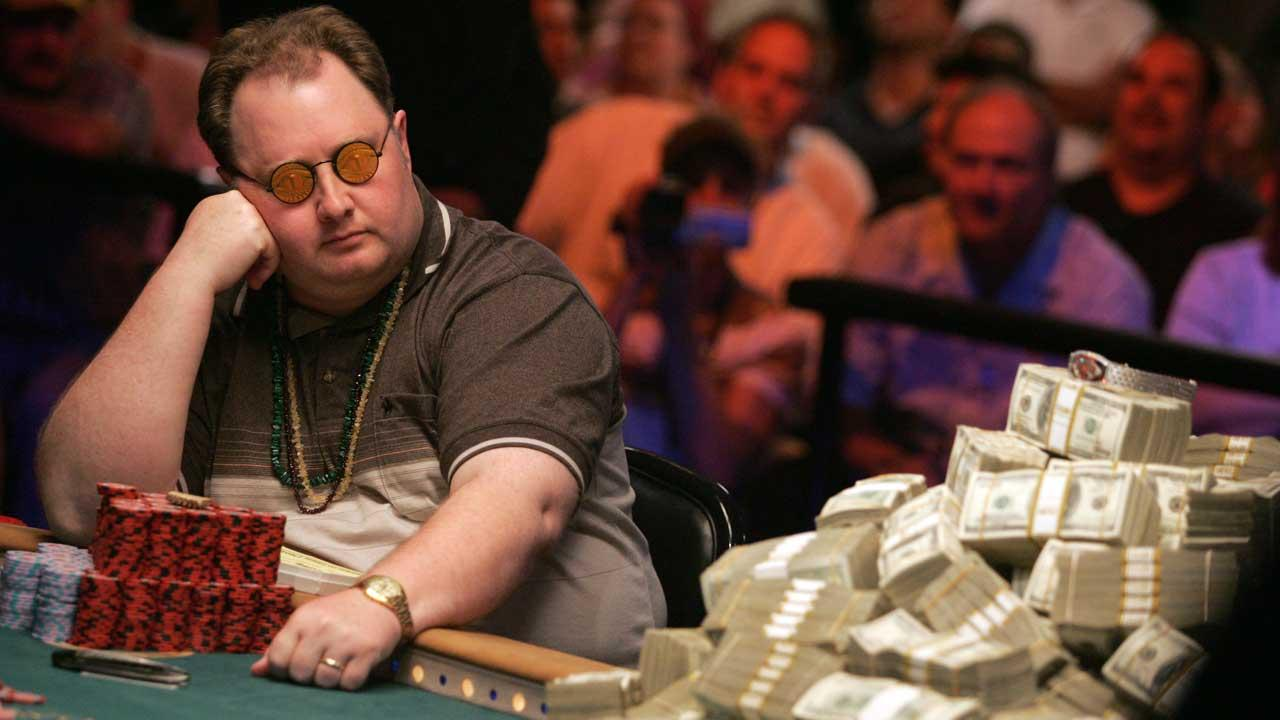 Greg  The Fossilman Raymer of Stonington, Conn., left, contemplates a move during the final round of the World Series of Poker Friday, May 28,2008 at Binions Horseshoe in Las Vegas. Also pictured, Dan Harrington. <span class=meta>(AP Photo&#47;Eric Jamison)</span>