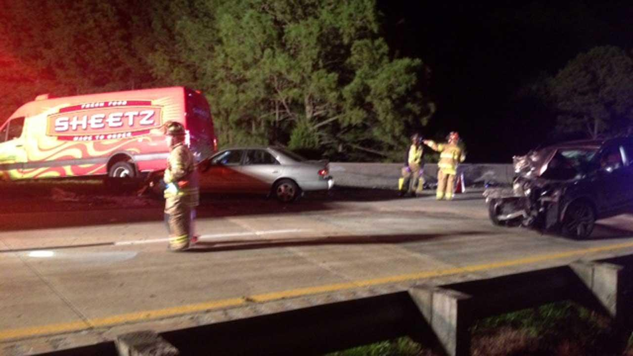 A three-car accident shut down part of Interstate 40 near US 70 around midnight Wednesday.