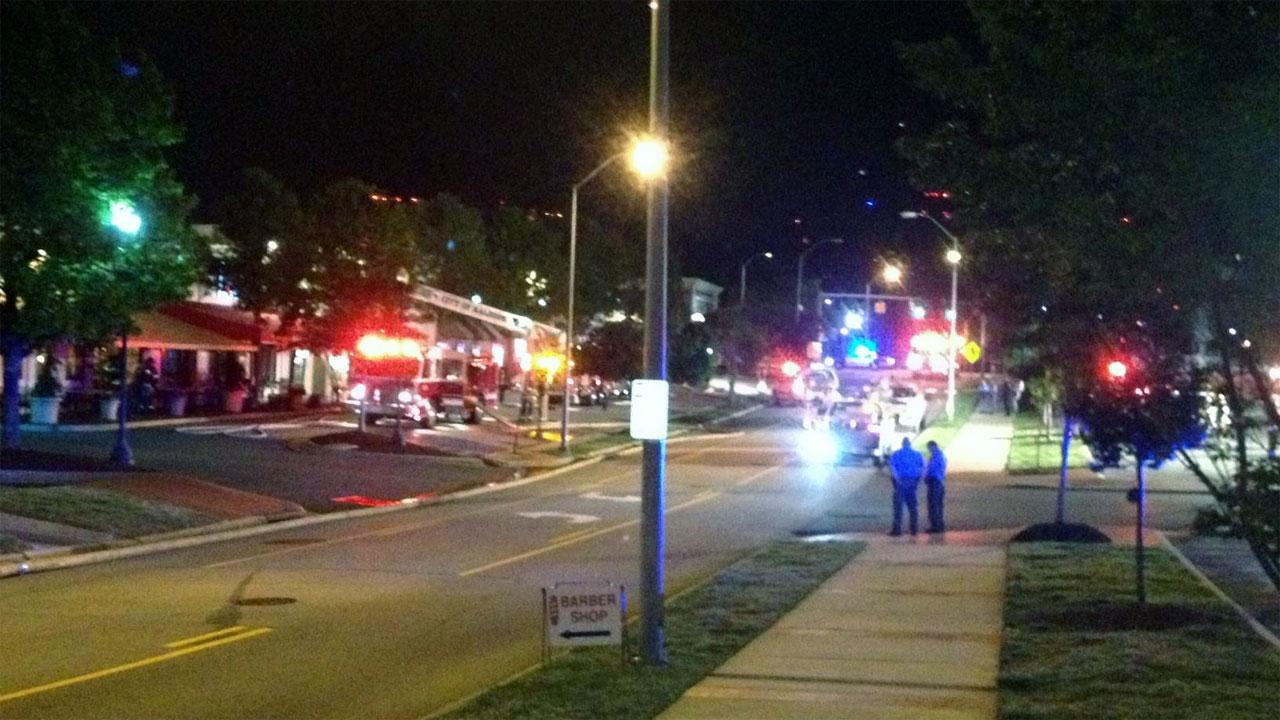 Fire crews battled a fire overnight at a sushi and burger restaurant in Raleigh.