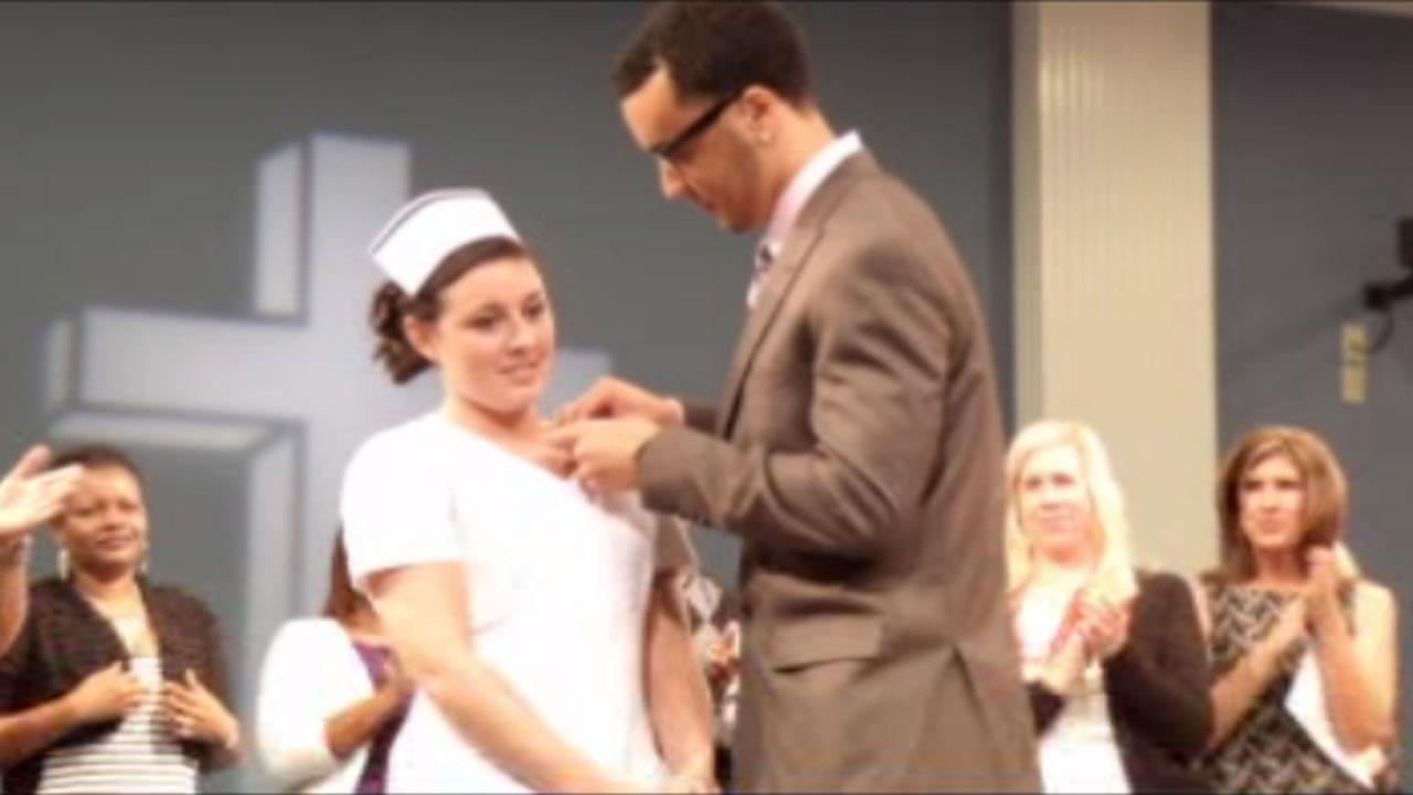 Blair Holliday was at Pitt Community Colleges annual pinning ceremony to personally pin 20-year-old Chelsea Gibbons, as she graduated as a registered nurse.