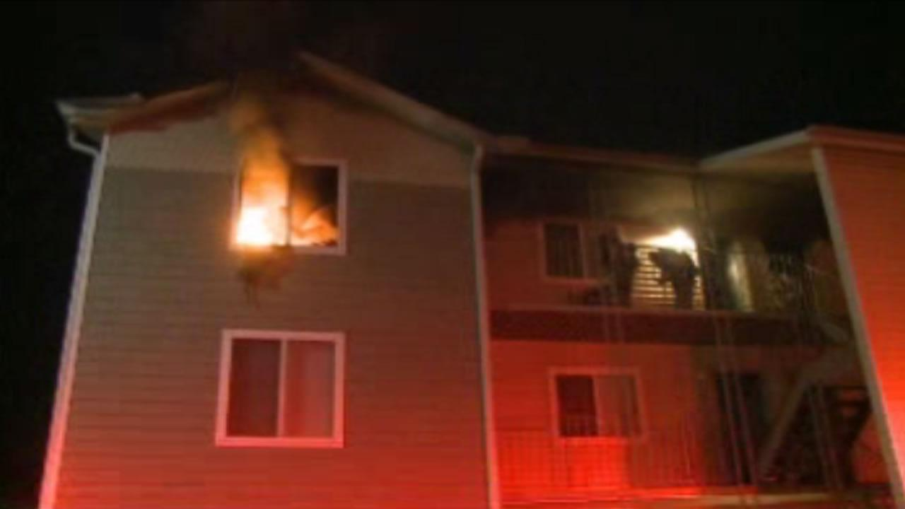 The fire broke out in the third floor unit at an apartment complex in the 1400 block of Chapel Hill Street.