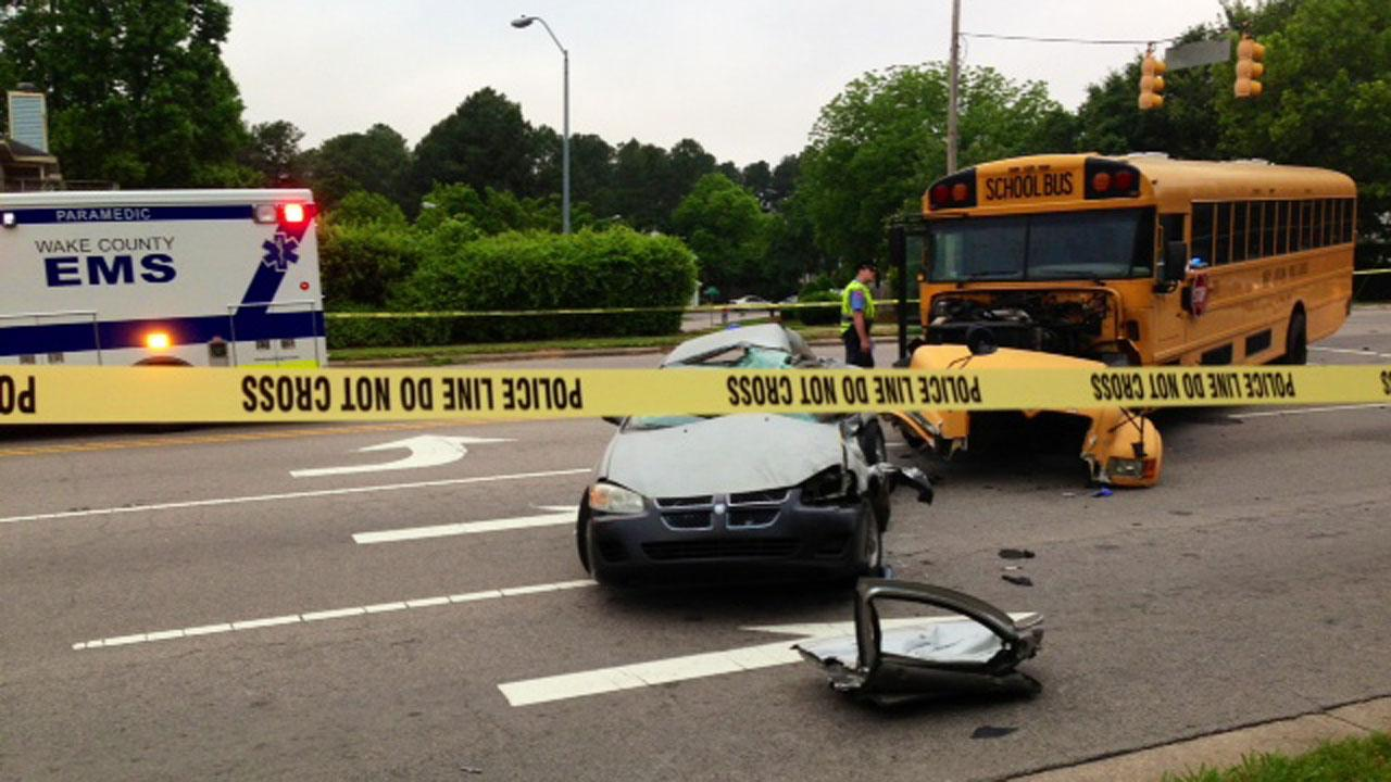 Wake County school bus and car crashed on Atlantic Avenue and Forest Oaks Drive in Raleigh Wednesday morning <span class=meta>(ABC11 Reporter Anthony Wilson)</span>