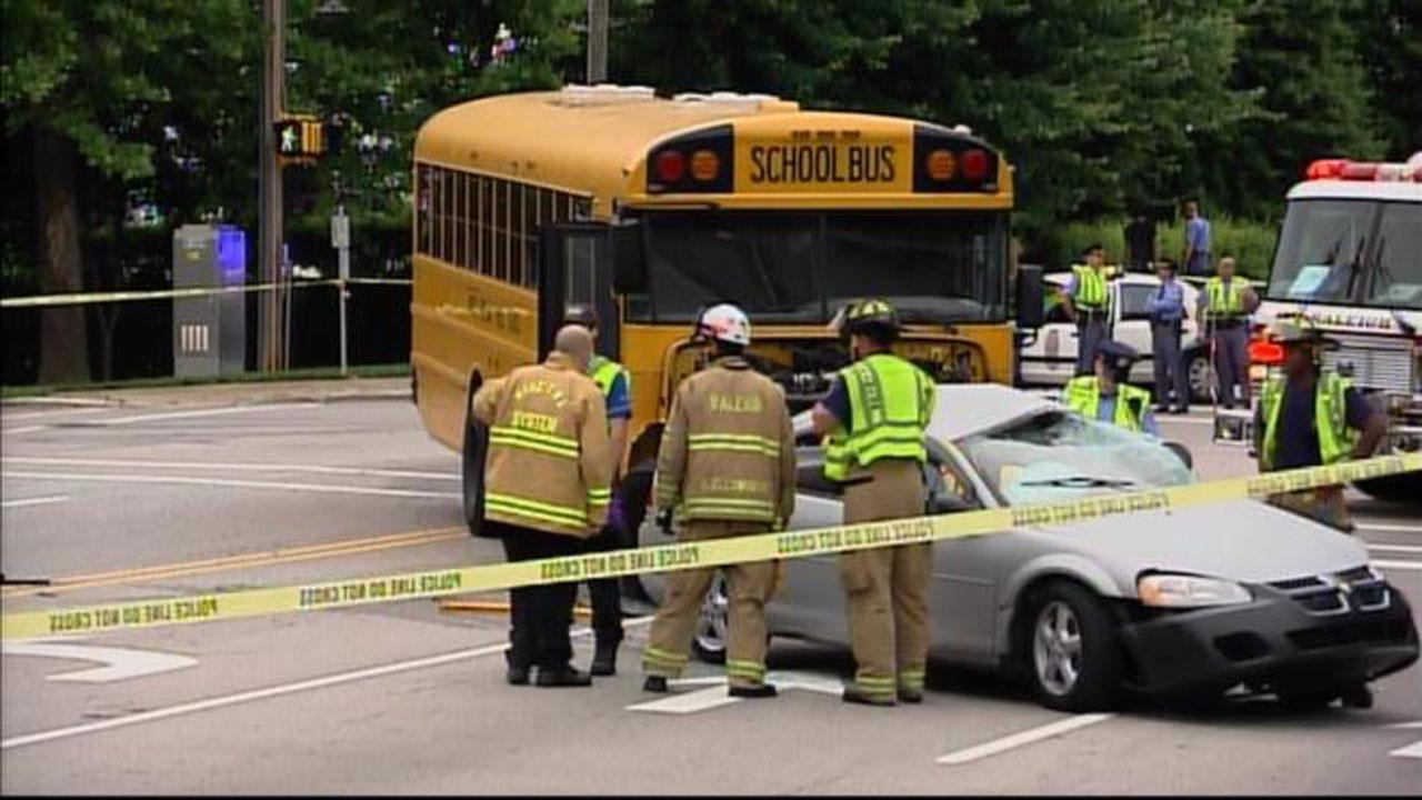 Wake County school bus and car crashed on Atlantic Avenue and Forest Oaks Drive in Raleigh Wednesday morning