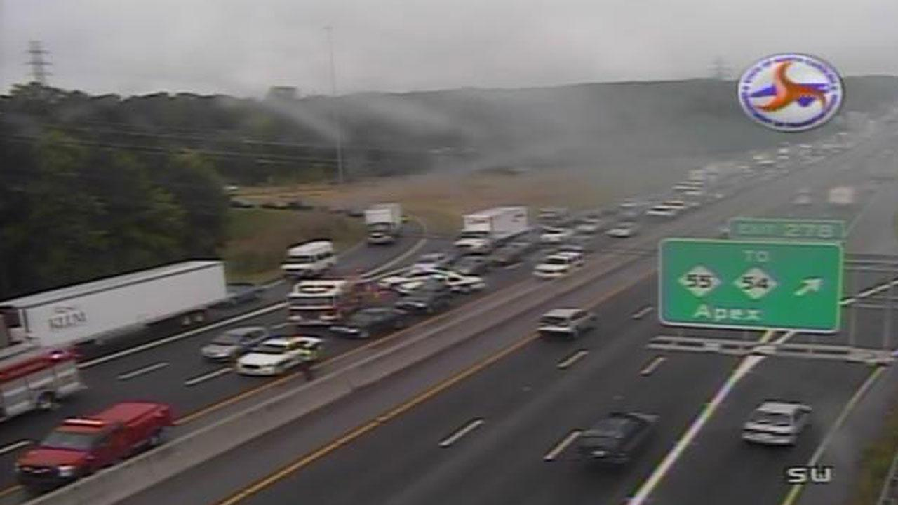 I-40 at NC-55 reopened after seven-car crash