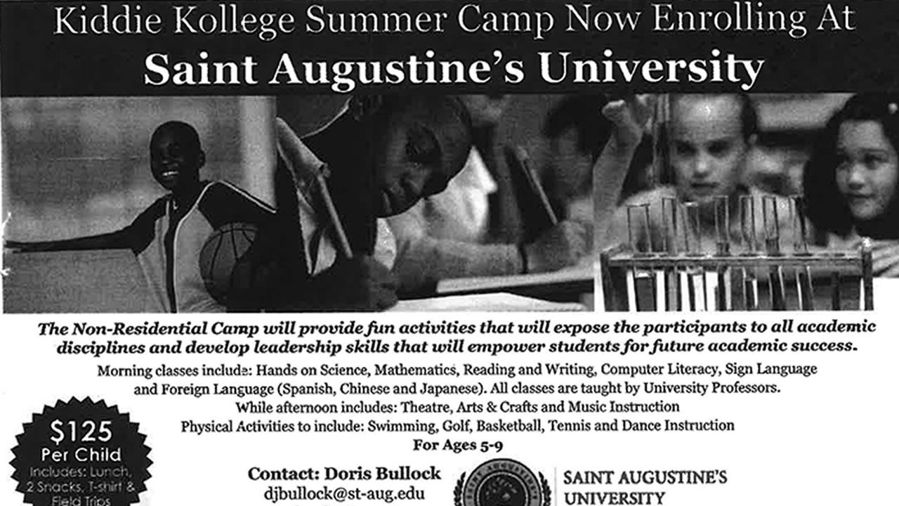 A promotional flyer for the Kiddie Kollege summer camp held at St. Augustines University