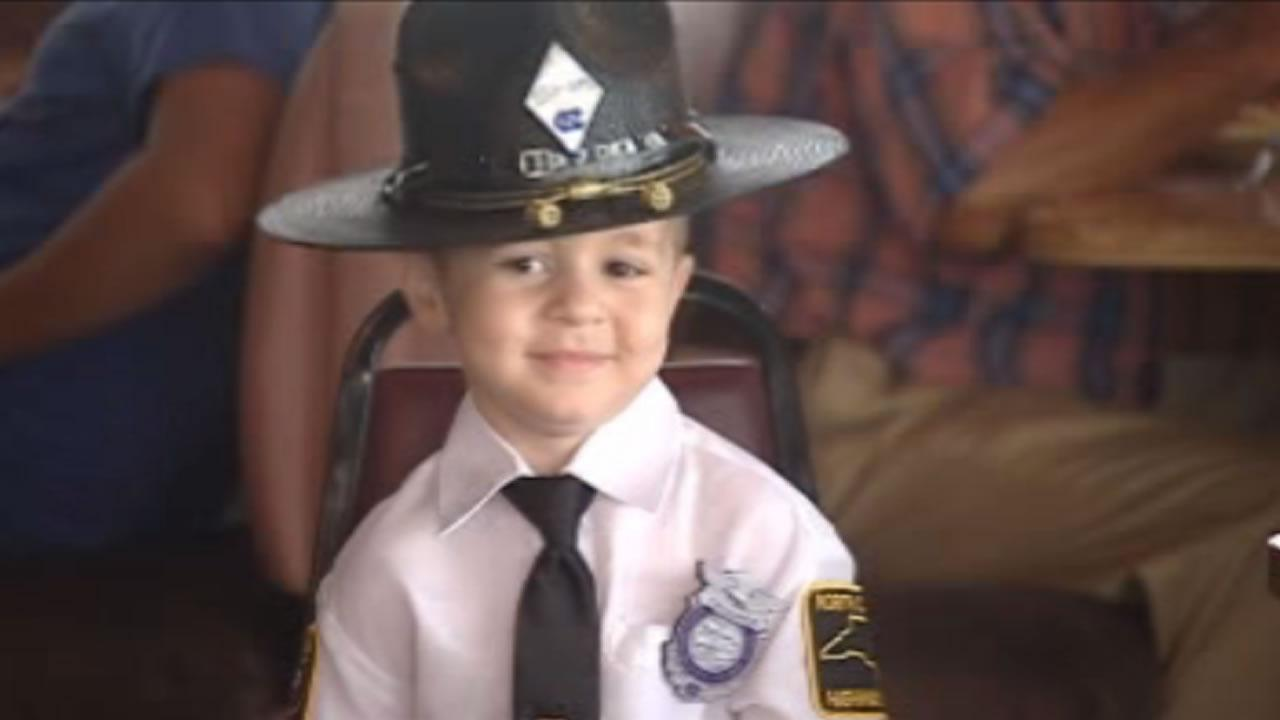 Four-year-old Rivers Malcolm became an honorary trooper in Robeson County Friday
