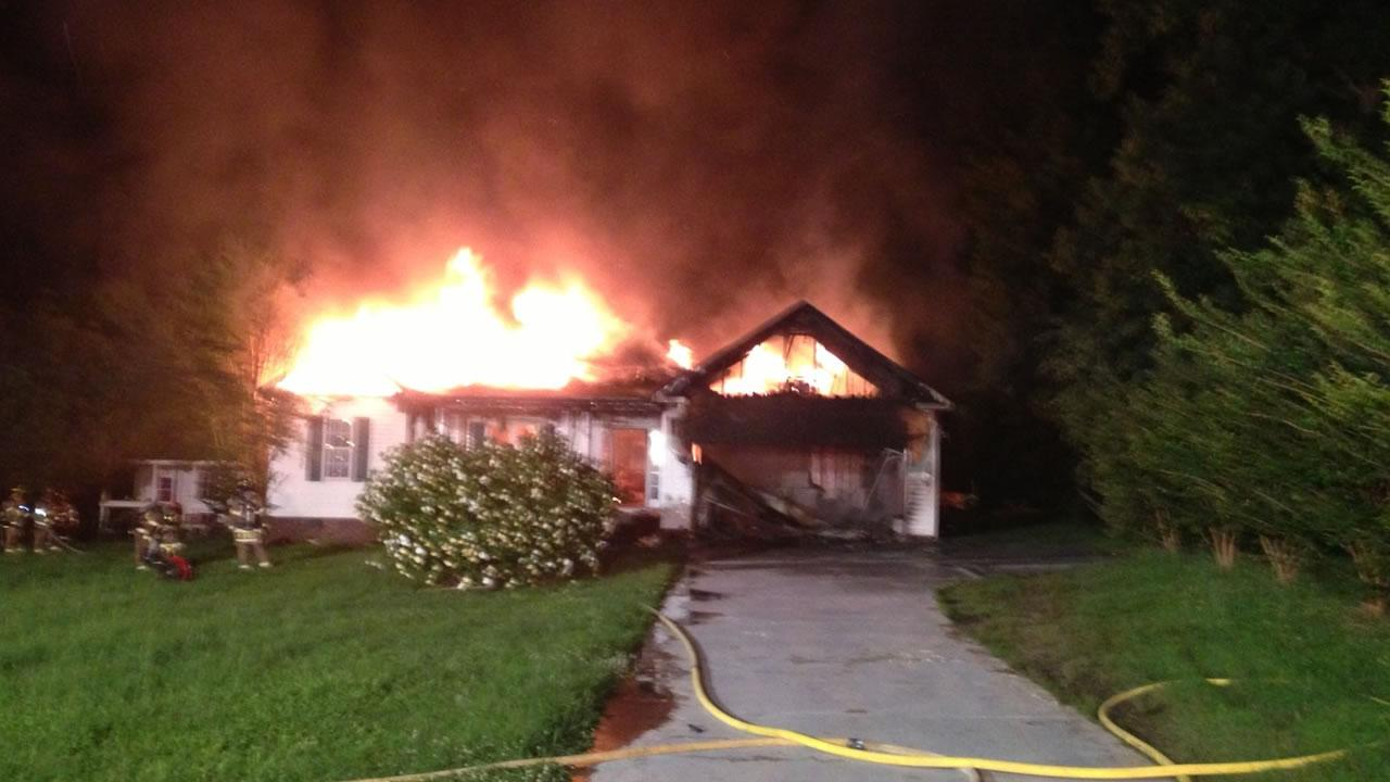 Two people were home when the fire at this home on Applecreek Court in Raleigh broke out