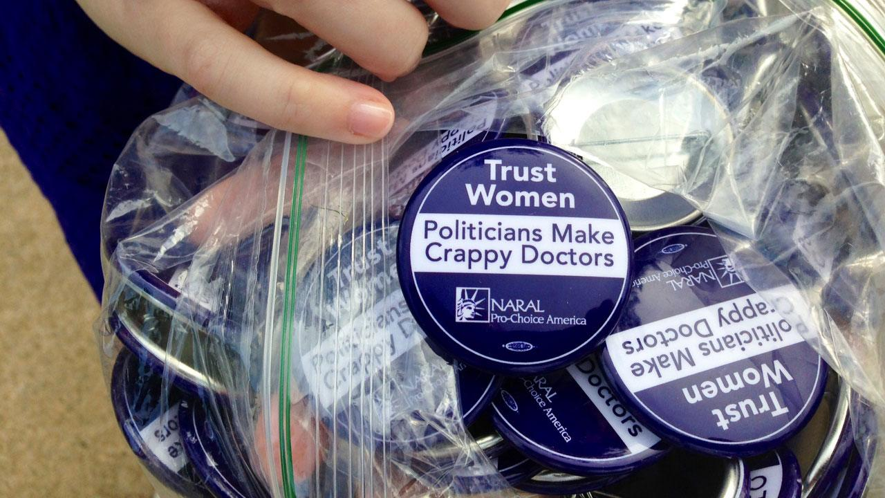 While signs are not allowed inside the General Assembly in Raleigh, some women are wearing messages that show their point of view, while lawmakers consider a bill that would restrict abortions in North Carolina. <span class=meta>(ABC11 reporter Anthony Wilson)</span>