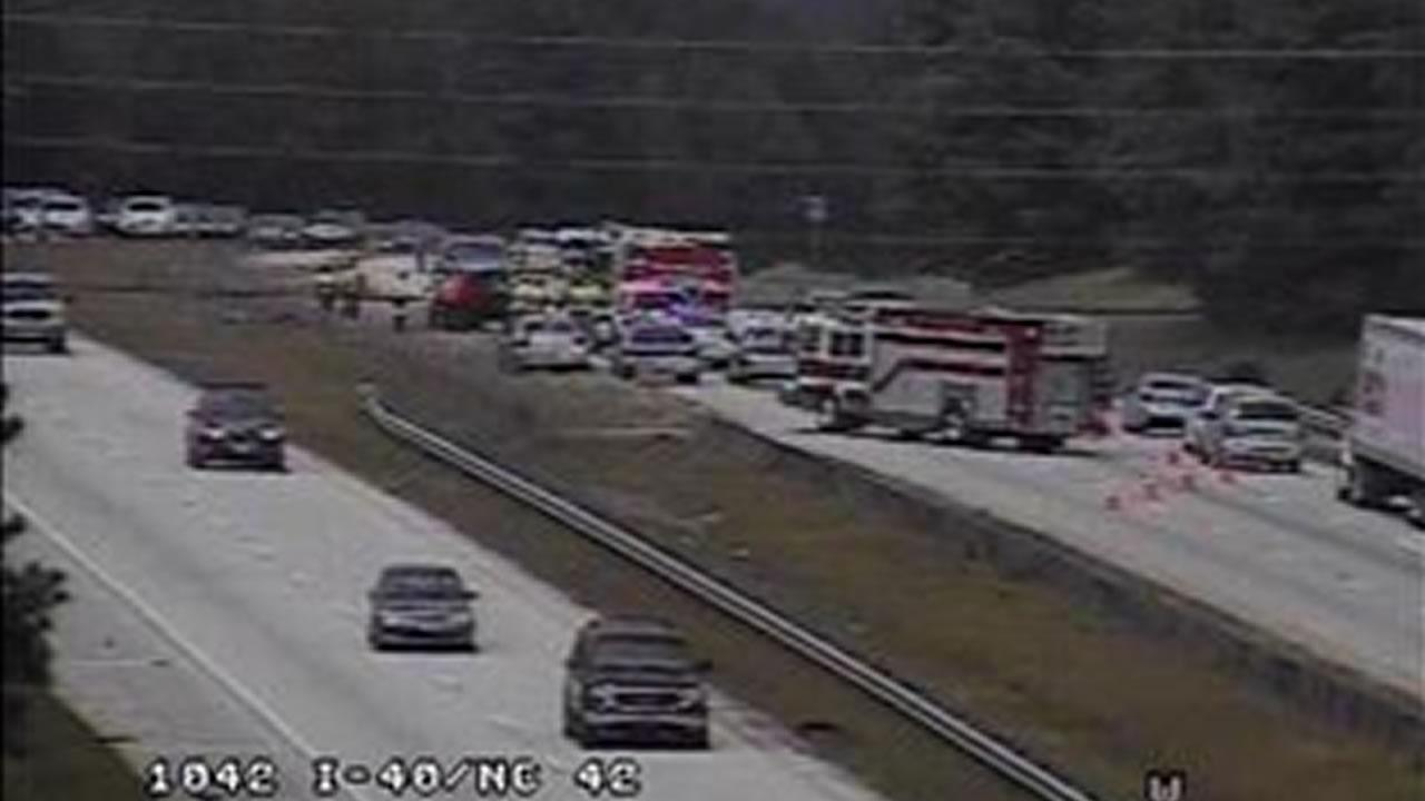 The crash happened in the westbound lanes of Interstate 40 at exit 312, NC-42 just after 1 p.m.