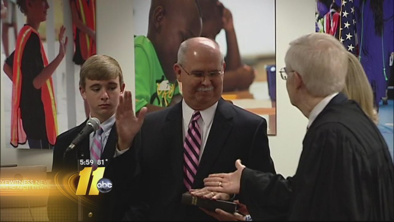 Jim Merrill sworn in as Wake County Public Schools Superintendent.